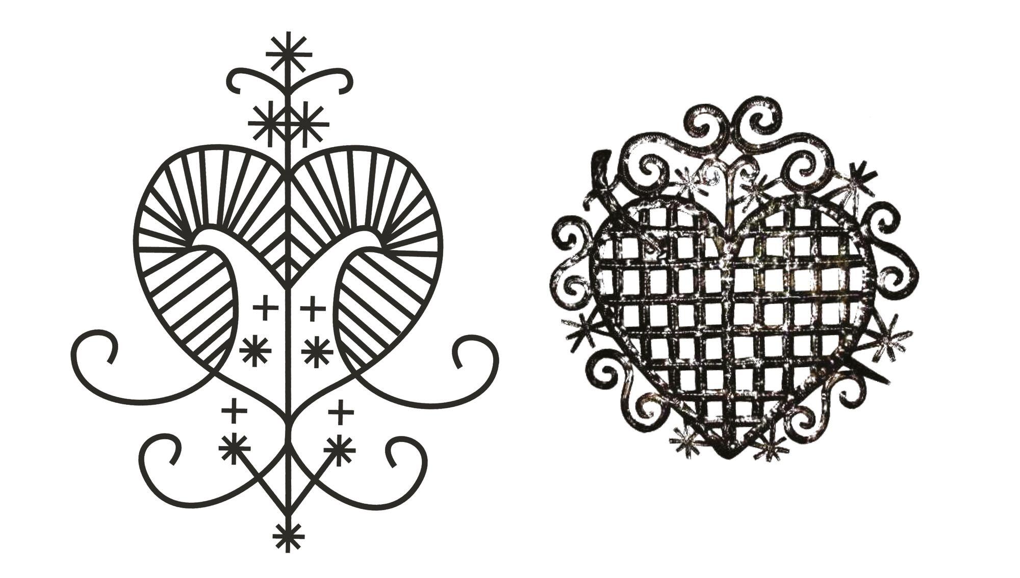 left: Vèvè representing the lwa Erzulie Freda - Public Domain; right: Vèvè representing the lwa Erzulie Dantor - 'Oficinalis', metal work, CC-BY-SA-4.0
