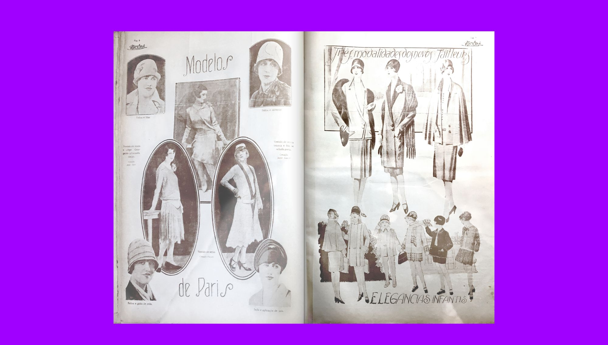 An example of the illustrated centerpiece in an issue of Modas & Bordados from 1929, showing a selection of trends