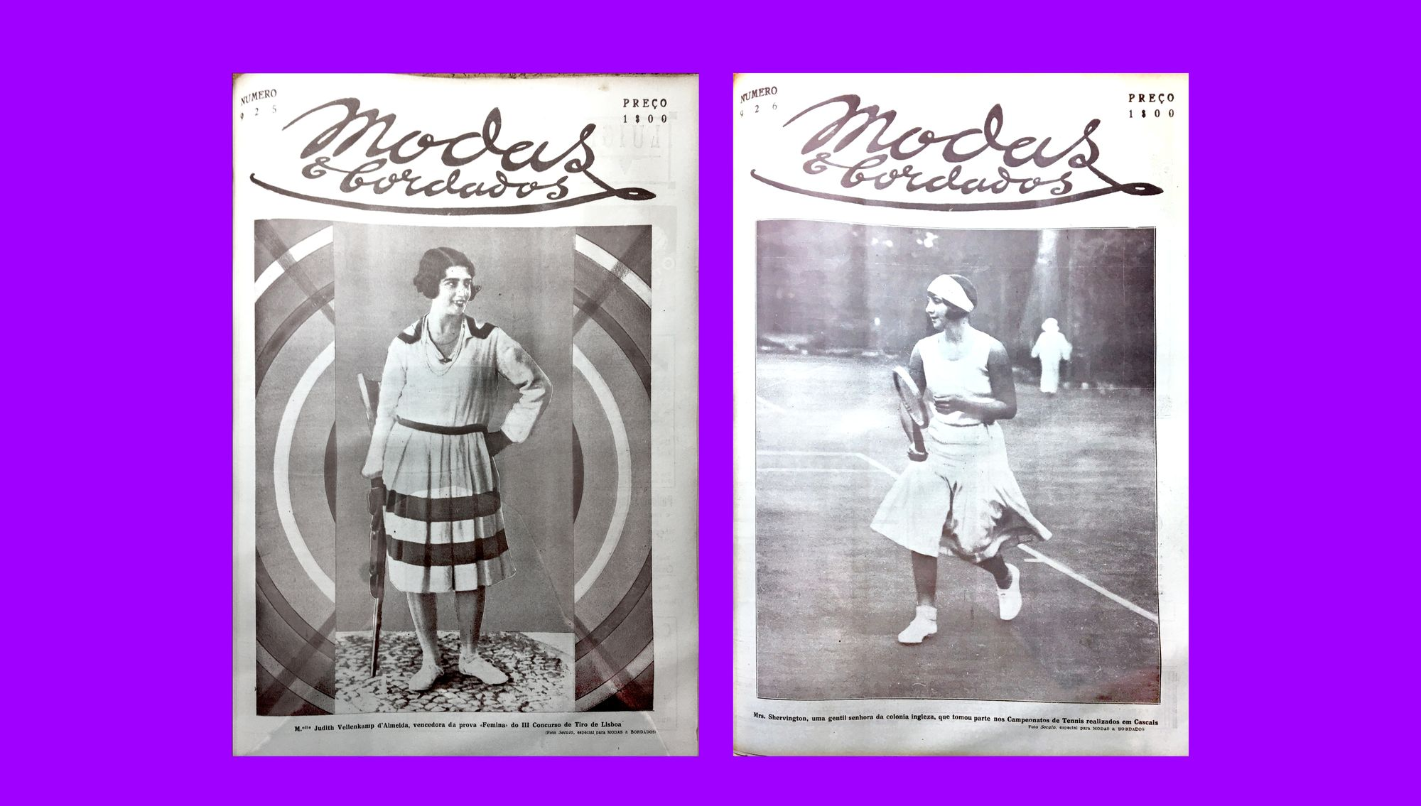Two covers depicting women engaged in sports. On the left, the cover from October 16, 1929 shows Judith Vellenkamp d'Almeida, the winner of the Lisbon female target shooting competition; on the right, the cover from October 23, 1929 shows Ms. Shervington playing tennis in the championship held outside Lisbon.