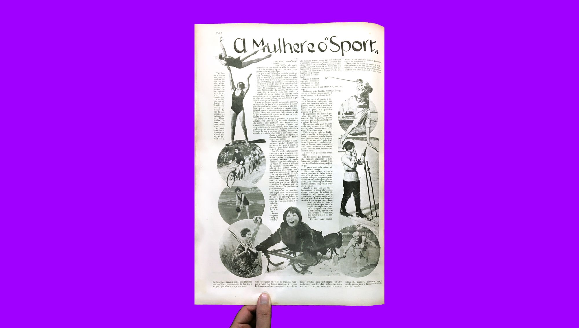 """A page from an issue of Modas & Bordados in 1929, with the article """"Women and Sport"""" showing women engaged in different physical activities"""