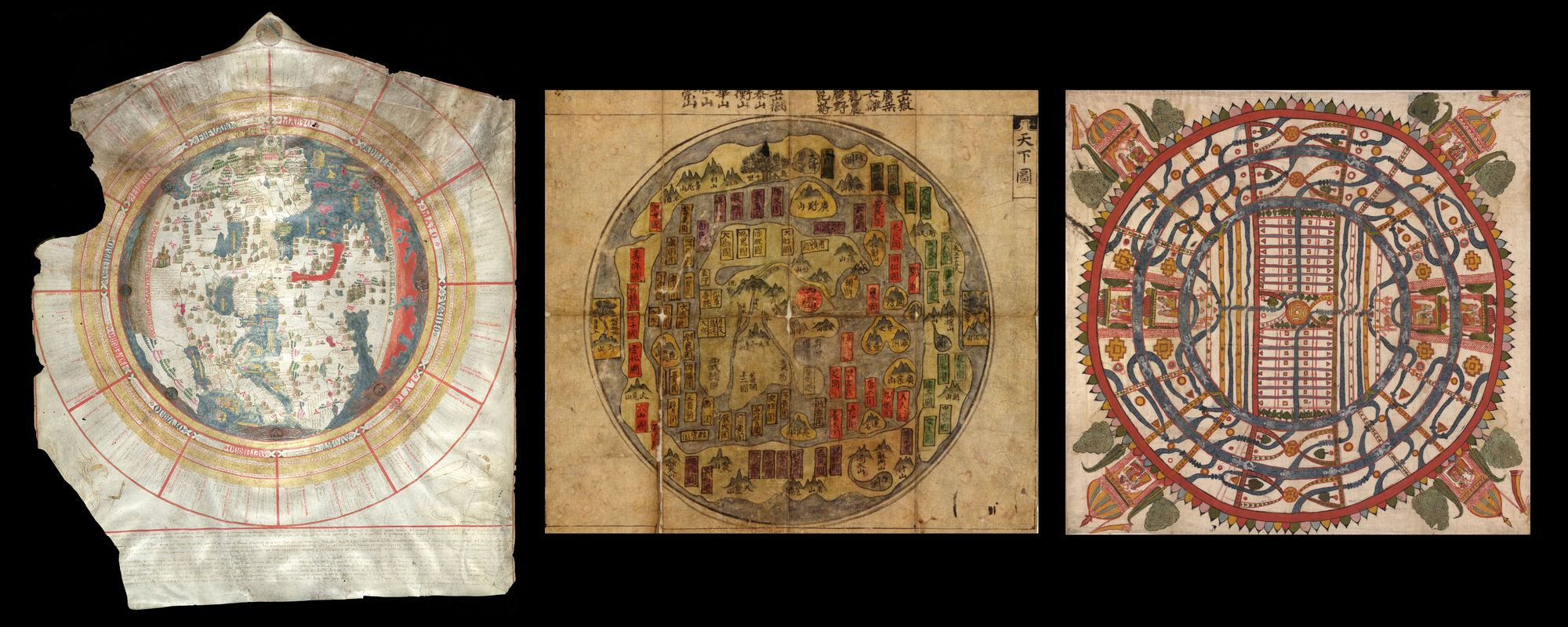 Left: A round map showing a lot of details. Cities and villages are illustrated with buildings. The map is framed by a calendar whose months are arranged radially around the card.  Middle: A circular map illustrated with mountains and trees. Right: A colorful circular map with a rectangular form in the middle and two ring-shaped forms on the outside. The map does not represent any geographical forms but is rather abstract.