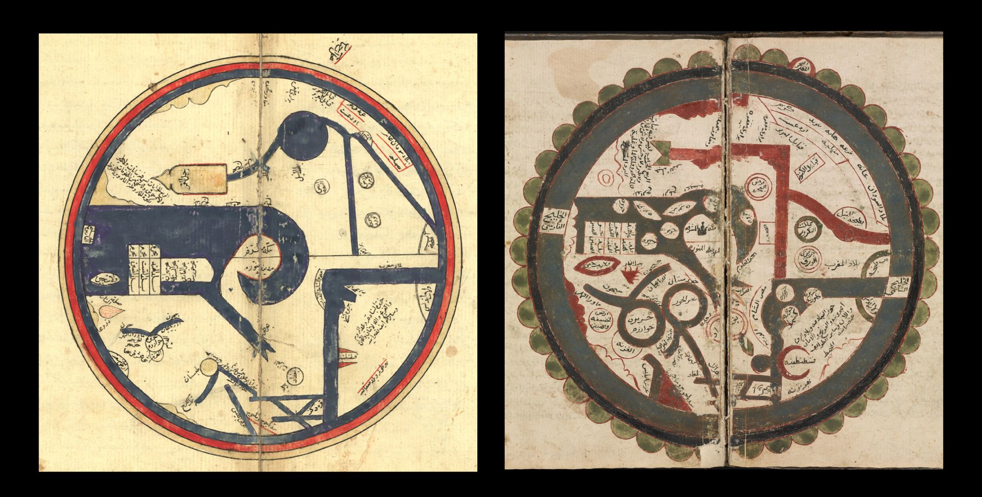 Two spreads from the old manuscript, showing round maps. The illustrations are quite abstract and minimalistic, depicting geographical features in geometrical forms.