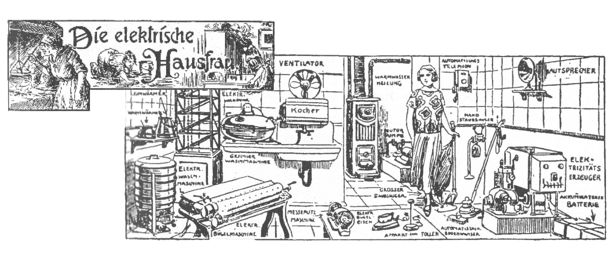 """On the left: the lettering """"the electrical housewife"""" surrounded by drawings of a woman in an apron and headscarf cooking on an open stove and scrubbing the floor on her knees. On the right: A drawing of a well-equipped kitchen with all imaginable household appliances. In the centre of the picture is a woman dressed in the modern style of the 1920s."""